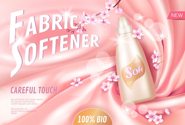 Сакура цветок смягчитель ткани рекламный плакат шаблон. розовые лепестки