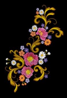 現実的なベクトル刺繍ファッションパッチ花バラデイジー
