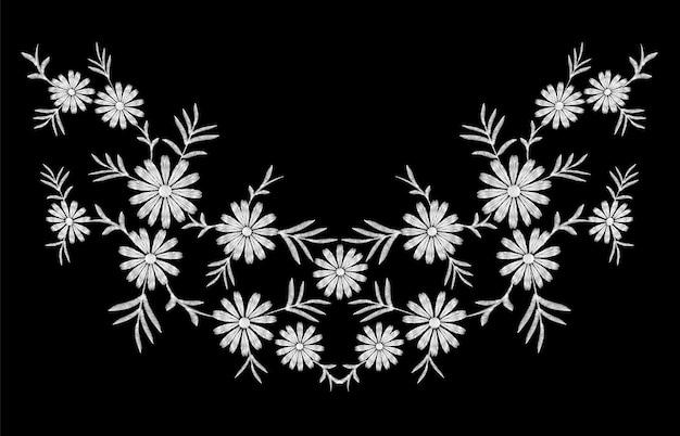 Ромашка вышивка принт фактура цветочная композиция листья мода