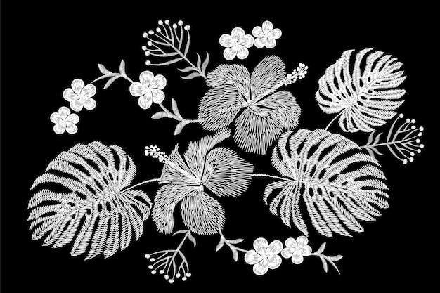 熱帯刺繍フラワーアレンジメント。エキゾチックな植物の花