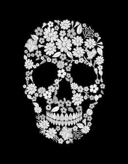 ヴィンテージ刺繍花の頭蓋骨。ムエルトスデッドデイファッション