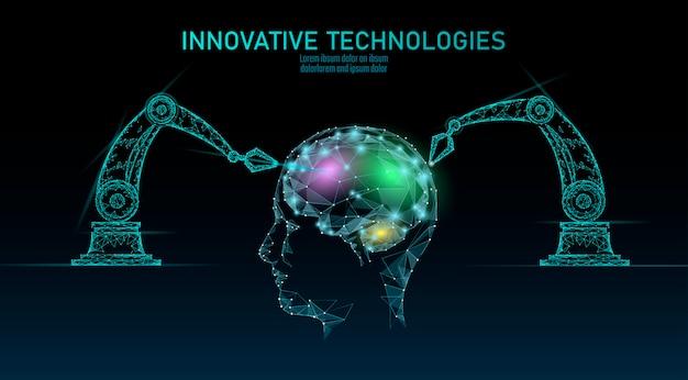 低ポリロボットアンドロイド脳機械学習。イノベーション技術人工知能人間サイボーグスマートデータ。仮想現実デジタル危険警告多角形ビジネス技術コンセプト。
