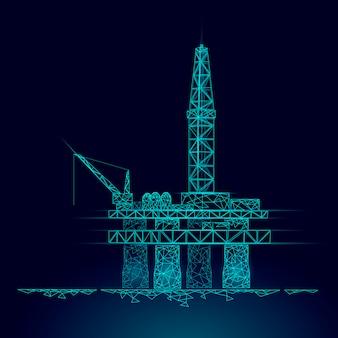 海洋石油ガス掘削リグ低ポリビジネスコンセプト。金融経済多角形ガソリン生産。石油燃料産業オフショア抽出デリックライン接続ドット青いベクトル図