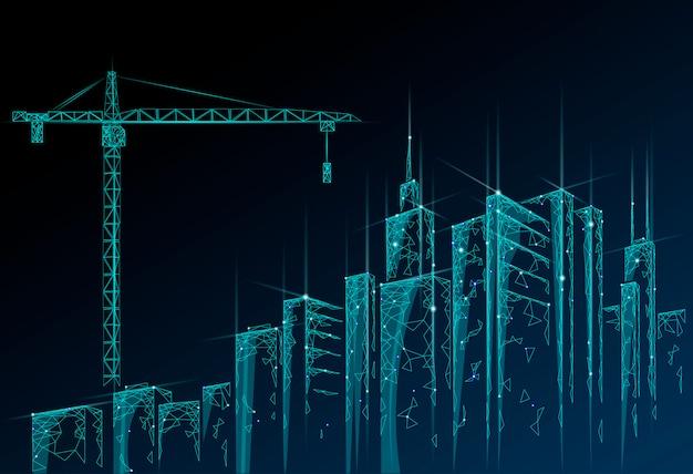 建設用クレーンの下の低ポリ建物。産業の近代的なビジネス技術。抽象的な多角形の幾何学的な街並み都市シルエット。高い塔の超高層ビルの夜の青空