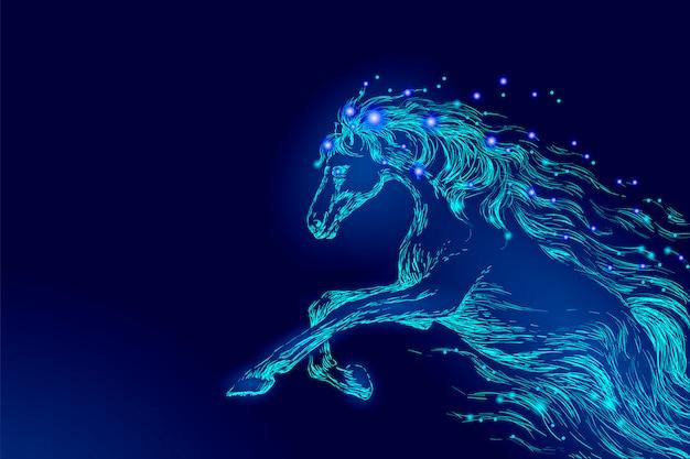 夜空の星、創造的な装飾の魔法の背景に乗って青い光る馬