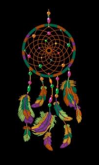 刺繍自由奔放に生きるネイティブアメリカンインディアンドリームキャッチャーの羽、