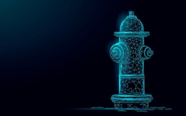 消火栓レスキュー技術コンセプト。多角形の青い緊急消防士機器ベクトルイラスト