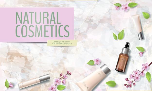春のセール桜のオーガニック化粧品の広告テンプレート。