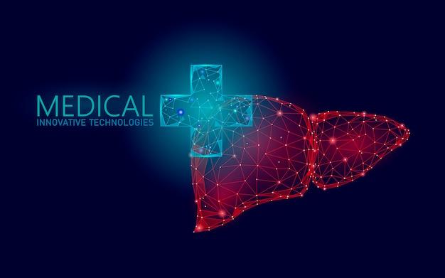 Медицинский крест символ печени доктор онлайн концепции. приложение медицинской консультации. веб-здравоохранение диагностика аптека сети баннер. фон рынка доставки низкополигональная