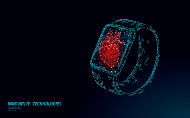 スマートウォッチフィットネストラッカーヘルスケアデバイス。医学アプリビジネスコンセプト。人間の心臓はスポーツモニターのモダンなデザインを打った。