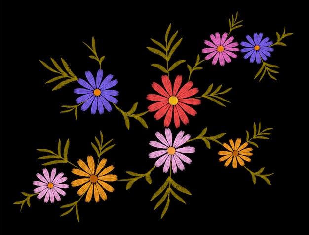 刺繍花デイジーガーベラハーブステッカー