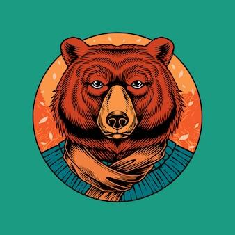秋の衣装を着た熊のイラスト