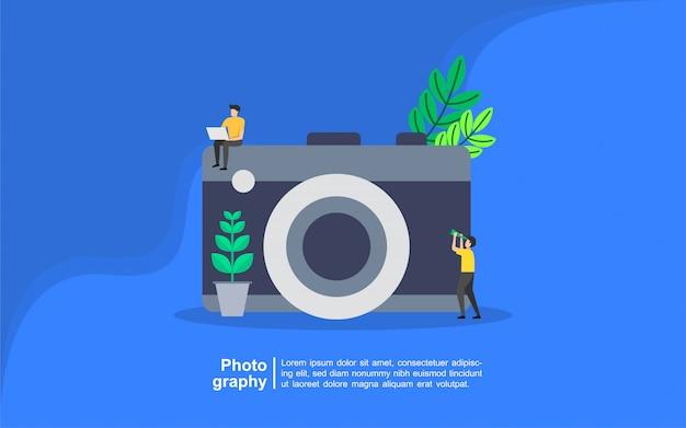 人のキャラクターと写真のコンセプト