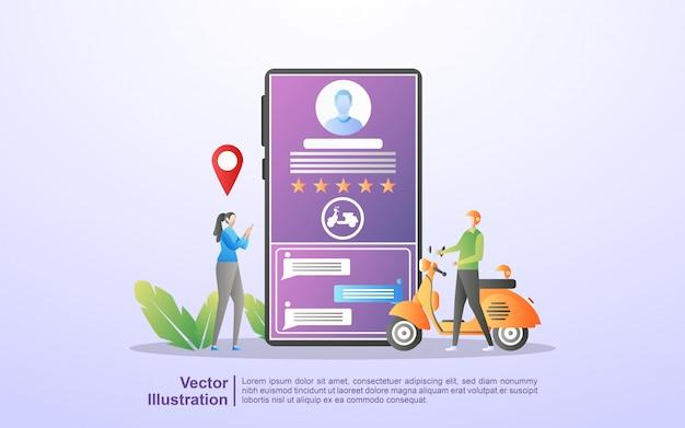 オンライン輸送の概念。人々は、モバイルアプリを通じて交通機関を注文します。オンラインで食べ物を注文します。