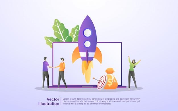 Бизнес-концепция запуска. процесс запуска бизнес-проекта, идея через планирование и стратегию, управление временем.