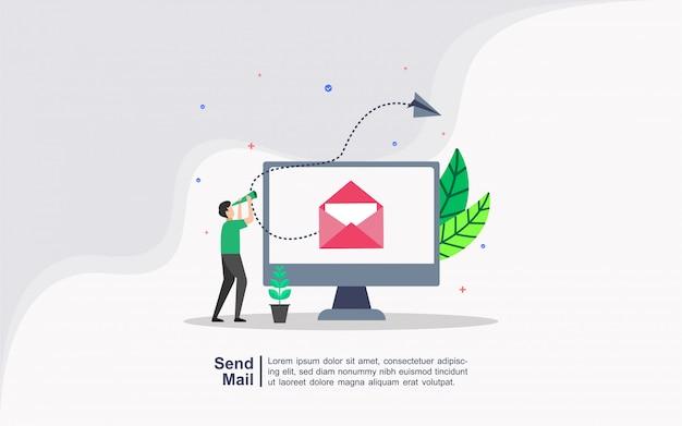 人々の文字とメールの概念を送る