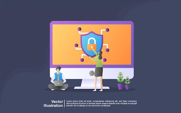 Иллюстрация концепция сетевой безопасности. концепция защиты данных.
