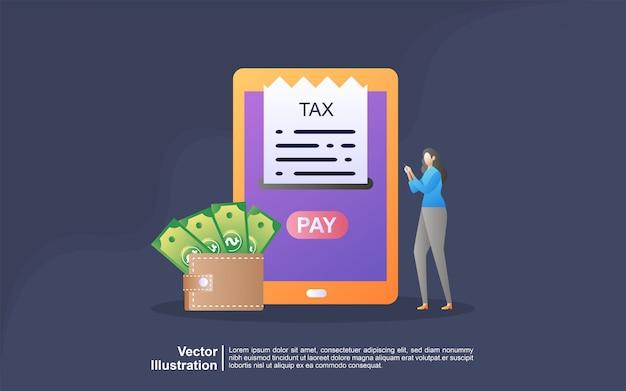 オンライン税の図の概念。税務フォームに記入。事業コンセプト。