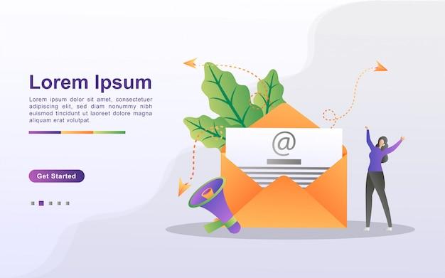 Концепция маркетинга электронной почты. рекламная кампания по электронной почте, электронный маркетинг, охват целевой аудитории электронными письмами. отправлять и получать почту. можно использовать для веб-целевой страницы, баннера, мобильного приложения.