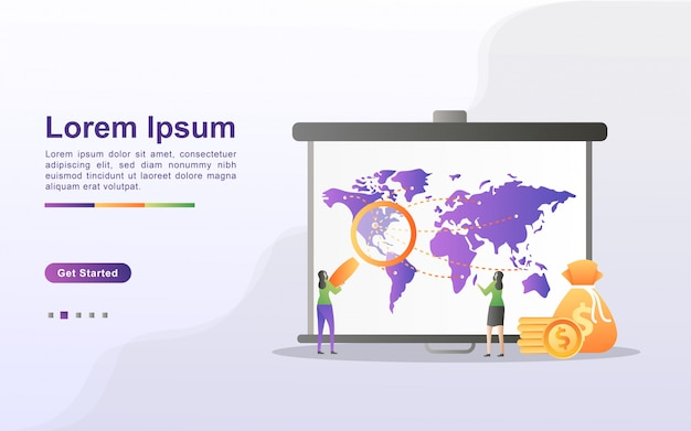 Концепция маркетинговой стратегии. объявления о внимании, цифровой маркетинг, связи с общественностью, рекламная кампания, продвижение бизнеса. можно использовать для веб-целевой страницы, баннера, мобильного приложения.