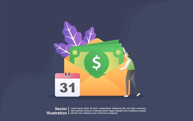 Иллюстрация концепция выплаты заработной платы. фонд заработной платы, годовой бонус, концепция дохода. можно использовать для, целевую страницу, шаблон, пользовательский интерфейс, веб, мобильное приложение, баннер