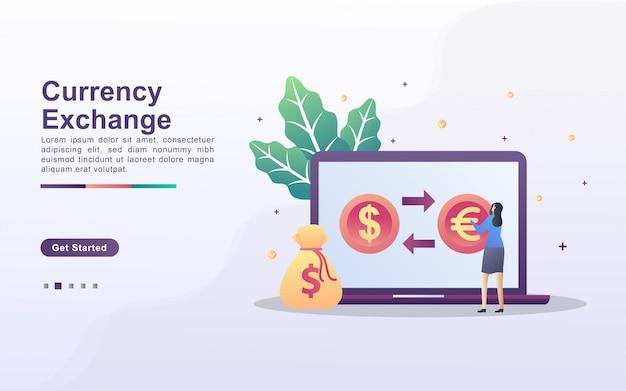 外貨両替のコンセプトです。人々は通貨をオンラインで交換します。世界の両替サービス。
