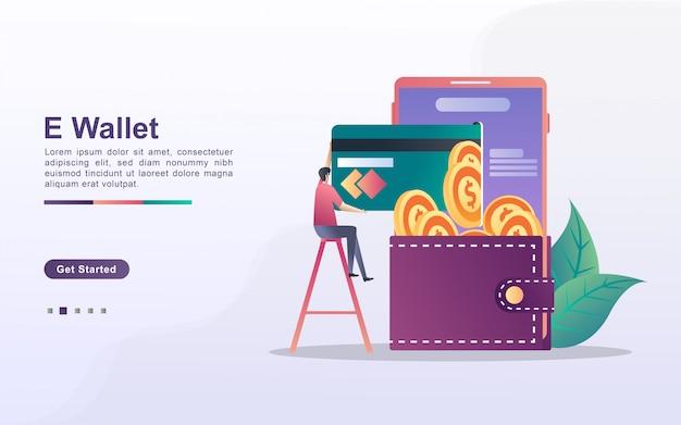 Концепция электронного кошелька. люди экономят деньги онлайн, используя карты. оплачивайте покупки в интернете с помощью кредитной карты. инвестируйте онлайн.