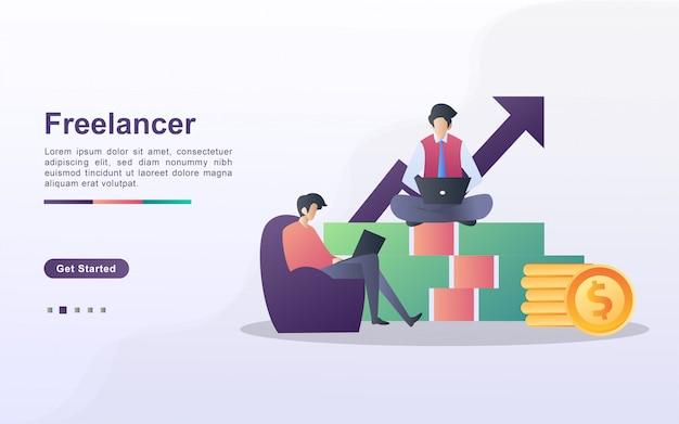 Концепция иллюстрации фрилансера. два фрилансера работают над проектом, сидят спокойно на деньгах.