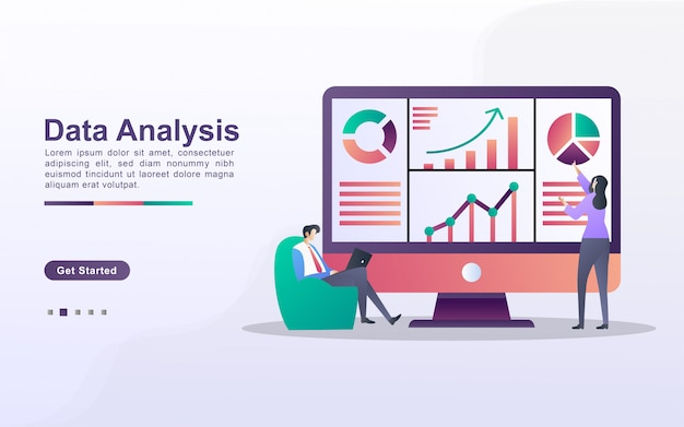 Концепция анализа данных. люди анализируют движение графиков и развитие бизнеса. управление данными, аудит и отчетность. можно использовать для веб-целевой страницы, баннера, флаера, мобильного приложения.