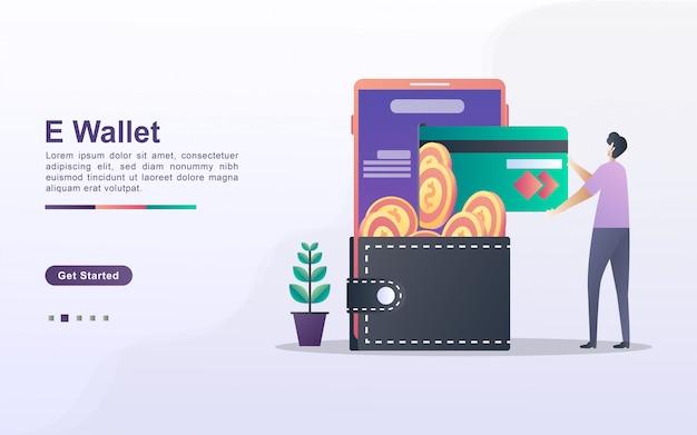 Концепция электронного кошелька. люди экономят деньги онлайн, используя карты. оплачивайте покупки в интернете с помощью кредитной карты. инвестируйте онлайн. можно использовать для веб-целевой страницы, баннера, флаера, мобильного приложения.
