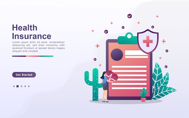 グラデーション効果スタイルの健康保険のランディングページテンプレート