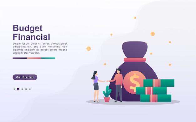 グラデーション効果スタイルの予算財務のランディングページテンプレート