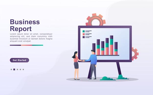 グラデーション効果スタイルのビジネスレポートのランディングページテンプレート