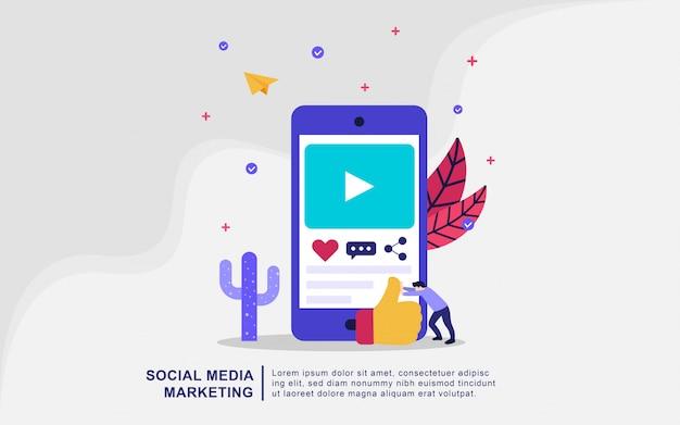 Концепция иллюстрации маркетинга в социальных сетях. цифровой маркетинг, цифровые технологии