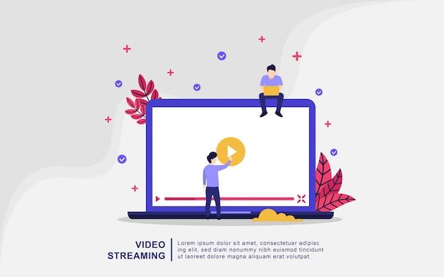 Концепция иллюстрации потокового видео. люди играют в онлайн видео, играют в кино