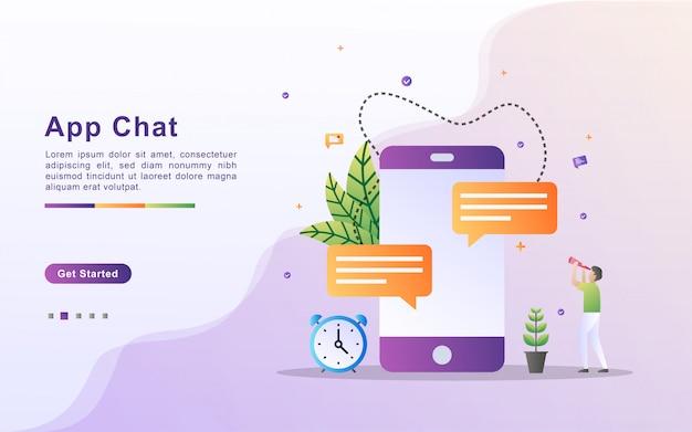 アプリチャットの図の概念。インターネット、ソーシャルネットワーキング、チャット、ビデオ、ニュース、メッセージを介したコミュニケーション。ランディングページのフラットなデザイン