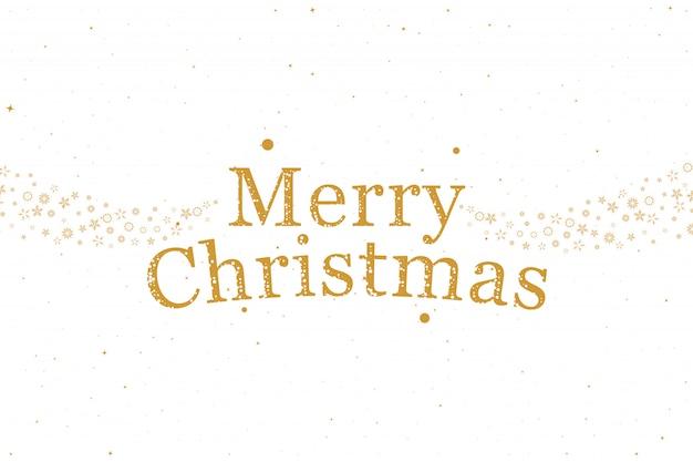 メリークリスマス!フォントレタリングと装飾的な雪のホリデーカード