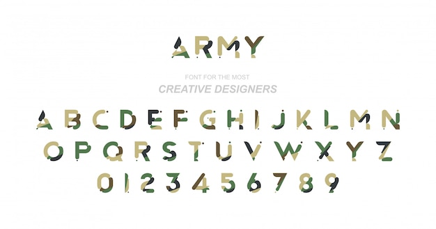 Оригинальный шрифт в камуфляже
