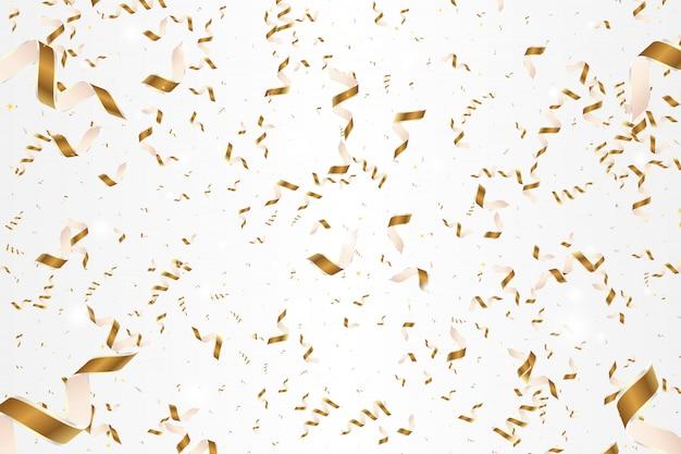 白で隔離される光沢のある金色の紙吹雪