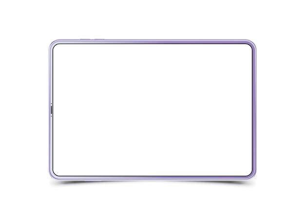 白い背景の上のモックアップの現実的なタブレット。