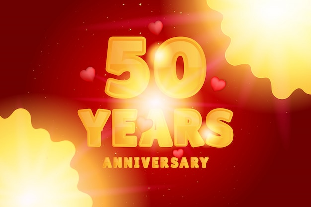 Юбилейный праздник. оранжевые цифры и текст с блестящими сердцами
