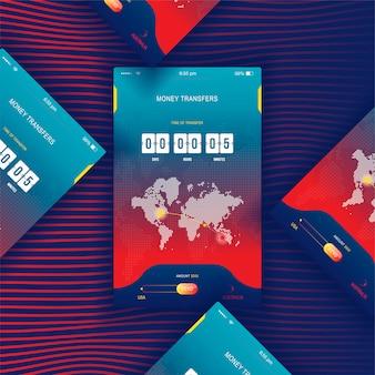 Современный пользовательский интерфейс, мобильное приложение для онлайн перевода денег с таймером обратного отсчета.