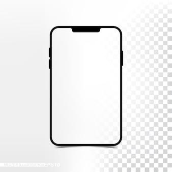 透明なスクリーンと背景のモックアップ新バージョンミニタブレット