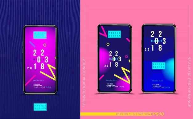 Установите смартфоны с абстрактным творческим плакатом с жидким и красочным градиентом.