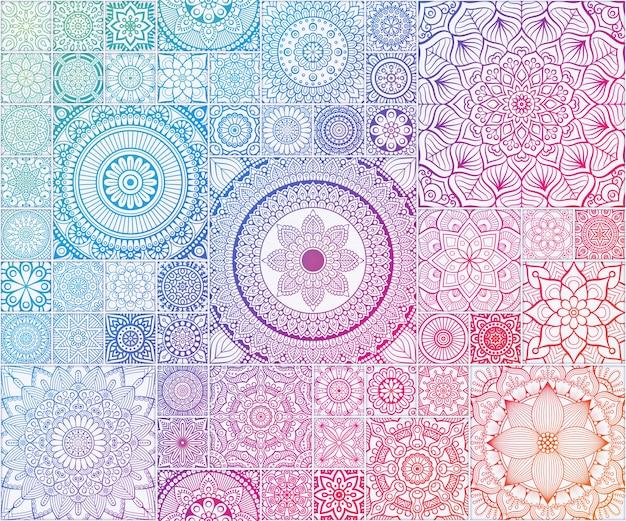 Радуга этнические цветочный бесшовные модели с мандалы