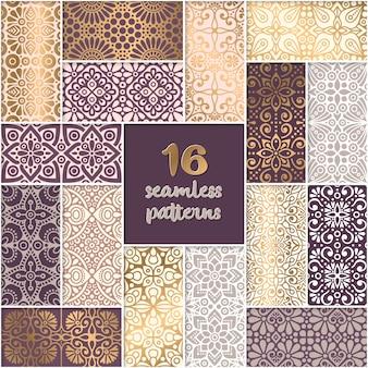 エスニックフラワーシームレスパターンコレクション抽象的な装飾パターン