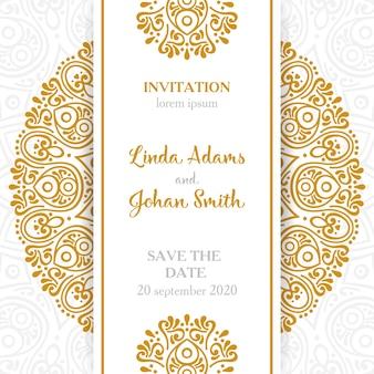結婚式の招待状ビンテージ装飾の要素と曼荼羅