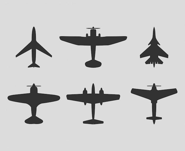 Векторные самолеты черный силуэт набор векторный значок