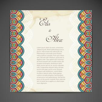 エスニックスタイルの名刺ベクトルの背景
