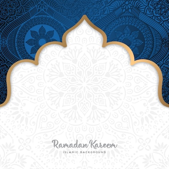 マンダラアートで美しいラマダンカレムグリーティングカードデザイン